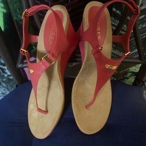 NWT Red wedge Ralph Lauren sandals